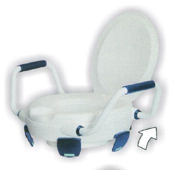Alza WC con fermi, braccioli e coperchio
